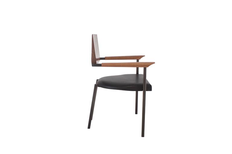 "Solid Hand-Shaped Walnut, Blackened Steel and Leather ""Upholstered Steel Chair'' 2"