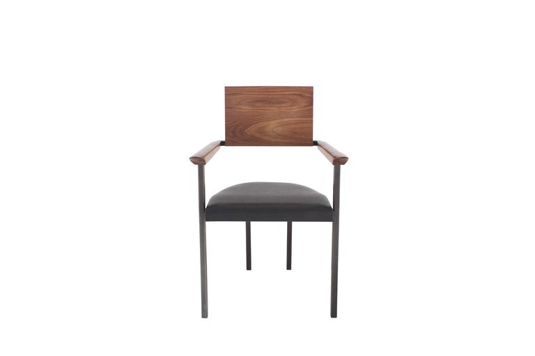 "Solid Hand-Shaped Walnut, Blackened Steel and Leather ""Upholstered Steel Chair'' 3"