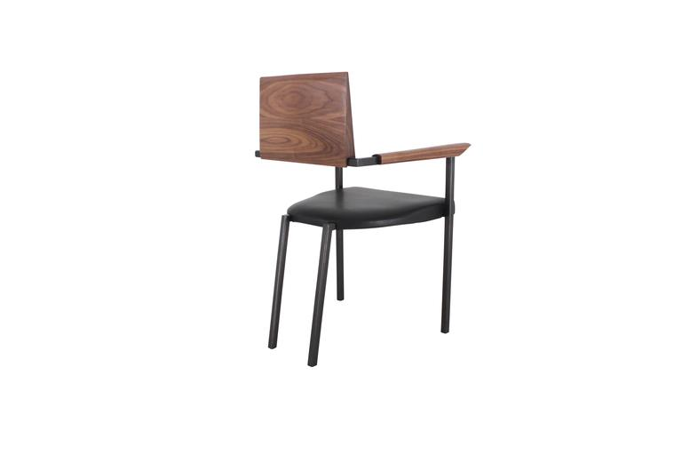 "Solid Hand-Shaped Walnut, Blackened Steel and Leather ""Upholstered Steel Chair'' 4"