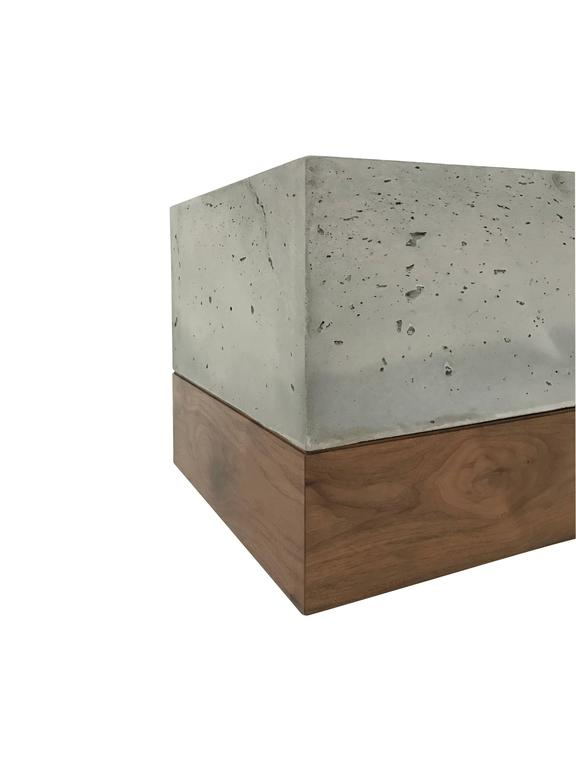"Modern Cast-Concrete and Solid Walnut ""Planter Box"" 4"