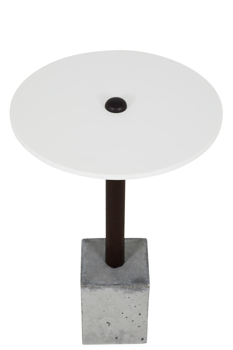 American CT-1 Cast Concrete and Corian Side Table For Sale