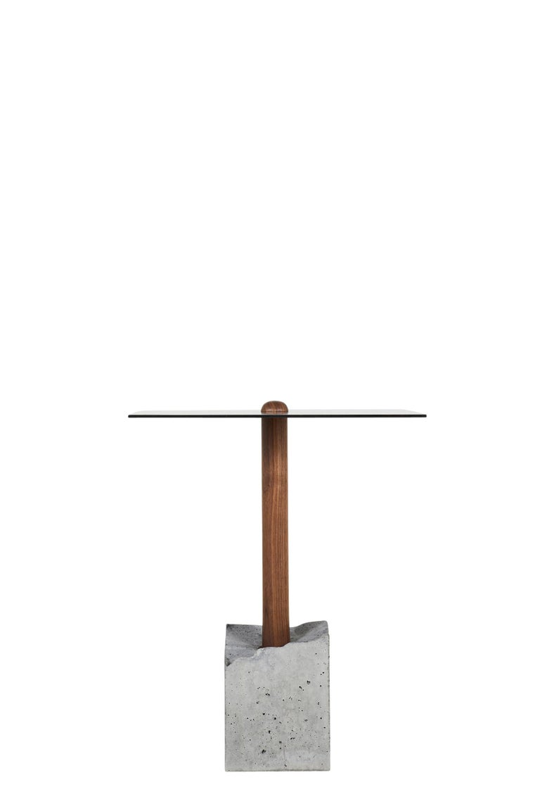 Brutalist CT-1 Blackened Steel Side Table of Walnut and