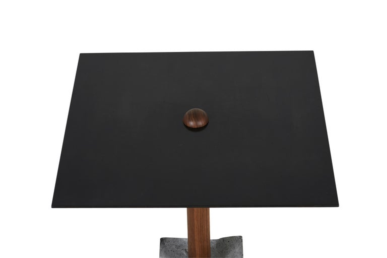 American CT-1 Blackened Steel Side Table of Walnut and