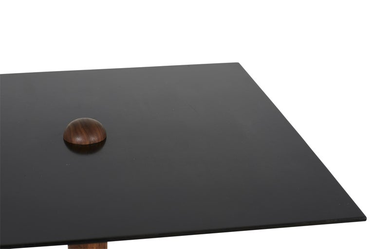 CT-1 Blackened Steel Side Table of Walnut and