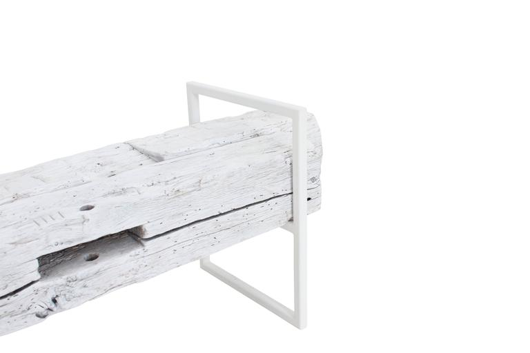 Contemporary Modern Minimal Beam Bench Reclaimed Structural Oak Beams Welded Steel Frame For Sale