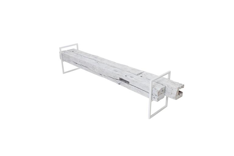 Modern Minimal Beam Bench Reclaimed Structural Oak Beams Welded Steel Frame For Sale 1