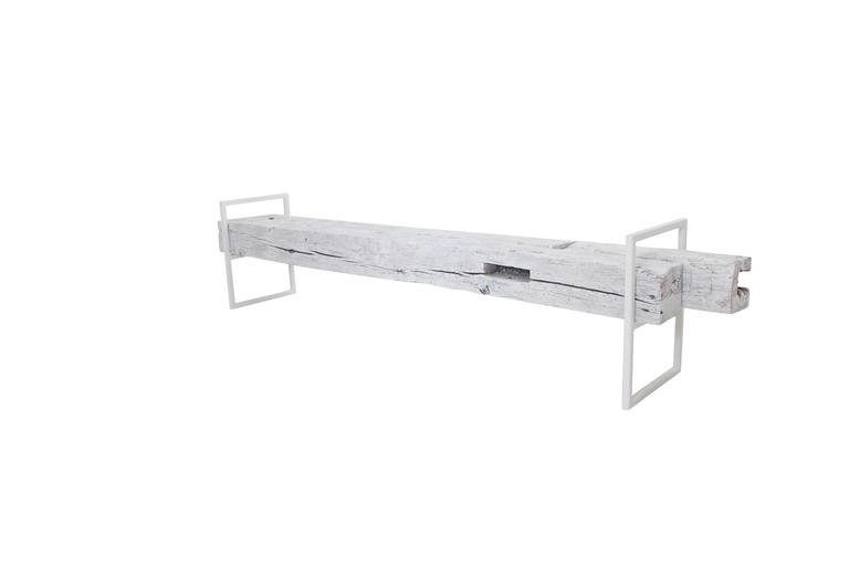 Modern Minimal Beam Bench Reclaimed Structural Oak Beams Welded Steel Frame For Sale 3