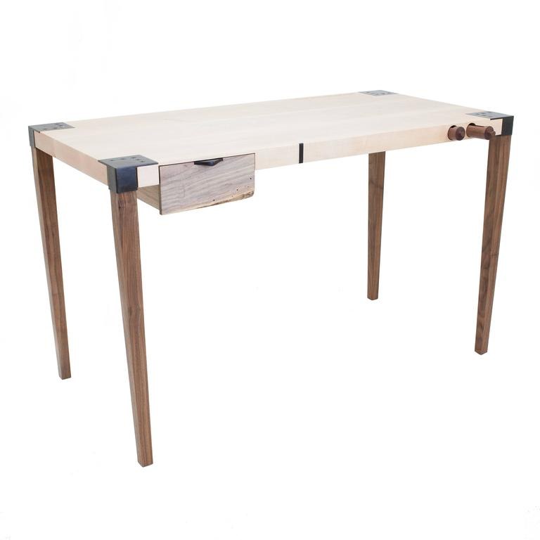 Contemporary Solid Wood Writer's Desk Maple or Walnut with Steel Joinery and Removable Legs For Sale