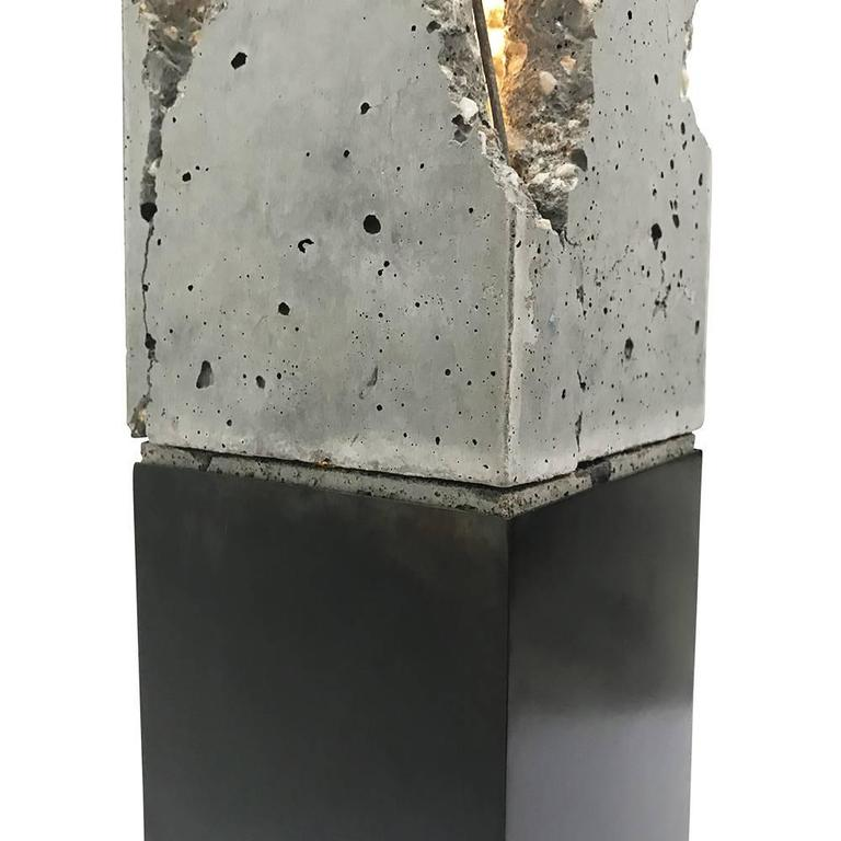 "Fractured Cast-Concrete ""Scarpa Light"" Solid Walnut or Blackened Steel Base 6"