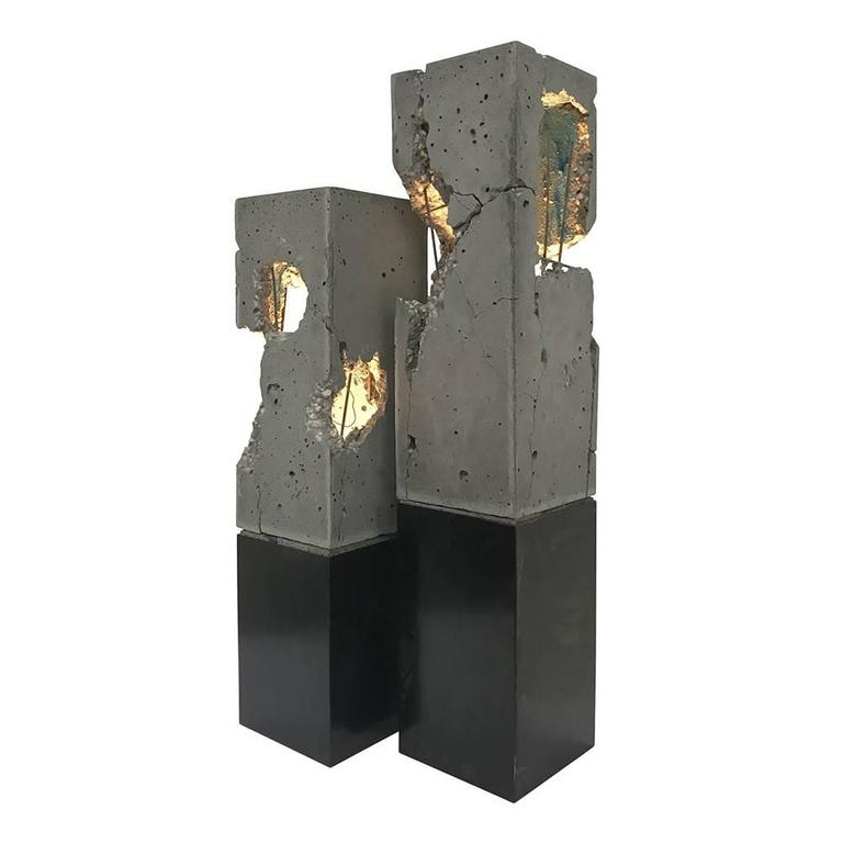 "Fractured Cast-Concrete ""Scarpa Light"" Solid Walnut or Blackened Steel Base 7"