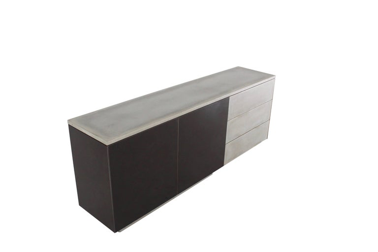 "Solid Walnut, Blackened Steel and Cast Concrete ""C-210"" Cantilevered Credenza 8"
