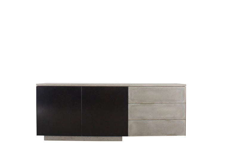 "Solid Walnut, Blackened Steel and Cast Concrete ""C-210"" Cantilevered Credenza 3"