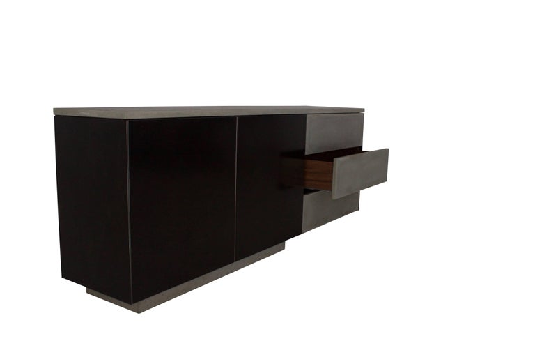 "Solid Walnut, Blackened Steel and Cast Concrete ""C-210"" Cantilevered Credenza 10"