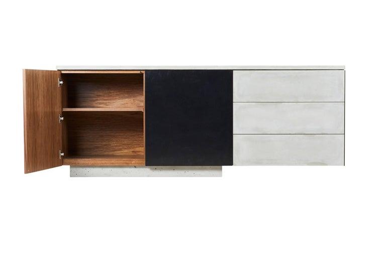Minimalist Solid Walnut, Blackened Steel and Cast Concrete