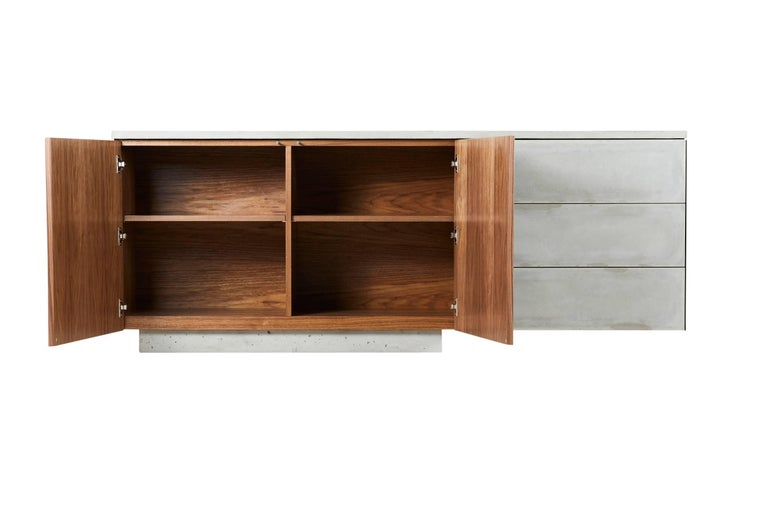 "Solid Walnut, Blackened Steel and Cast Concrete ""C-210"" Cantilevered Credenza 4"
