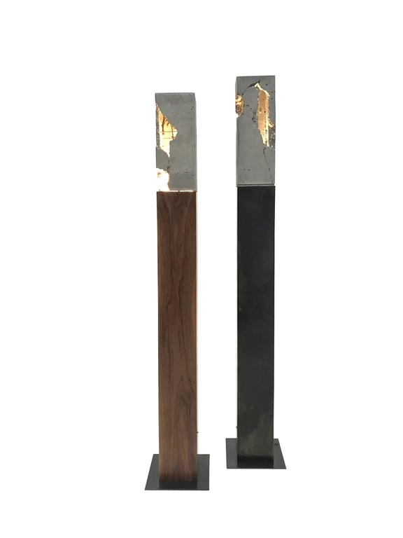 "Fractured Cast-Concrete Standing ""Scarpa Light"" Walnut or Blackened Steel Base 3"
