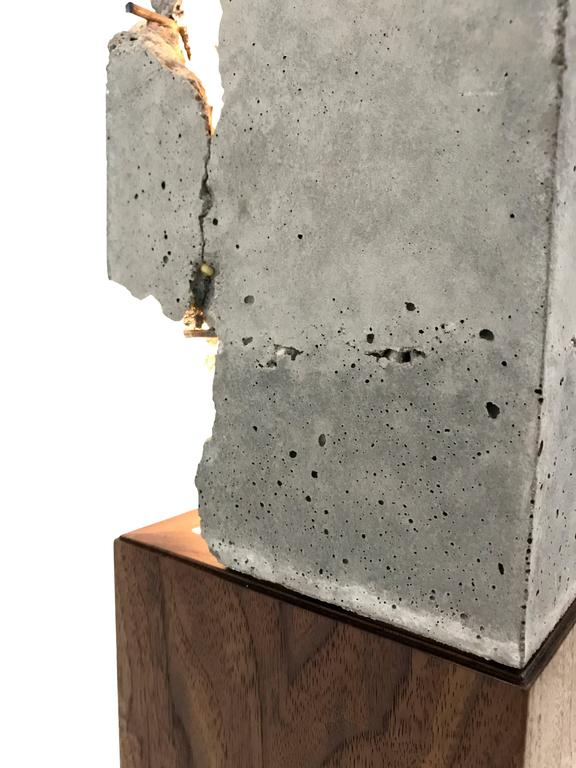 "Fractured Cast-Concrete Standing ""Scarpa Light"" Walnut or Blackened Steel Base 10"