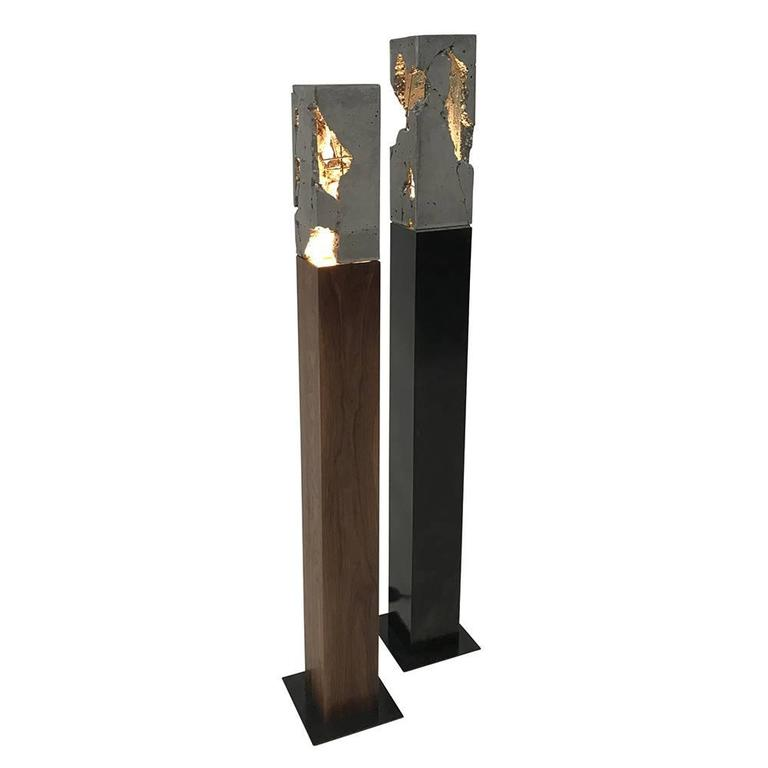 "Fractured Cast-Concrete Standing ""Scarpa Light"" Walnut or Blackened Steel Base"
