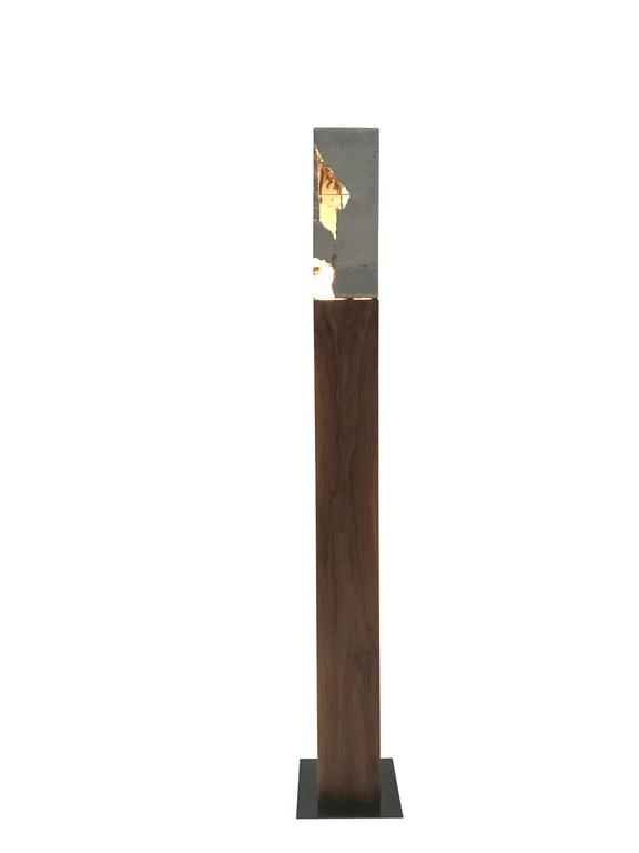 "Fractured Cast-Concrete Standing ""Scarpa Light"" Walnut or Blackened Steel Base 8"
