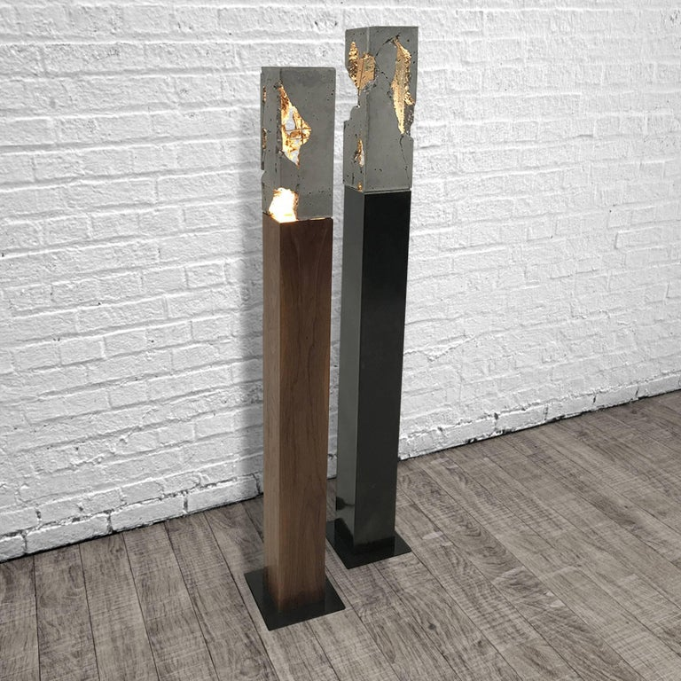 "Fractured Cast-Concrete Standing ""Scarpa Light"" Walnut or Blackened Steel Base 2"