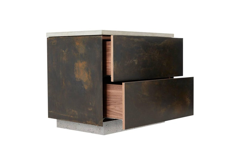 American Patinated Steel, Cast-Concrete and Walnut