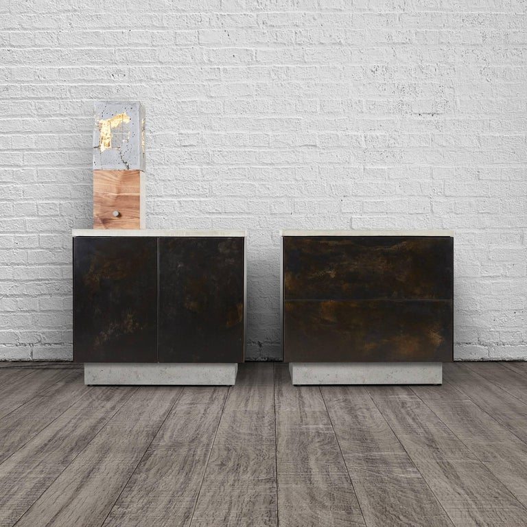 """Patinated Steel, Cast-Concrete and Walnut """"SO Side Table"""" with Drawers  2"""