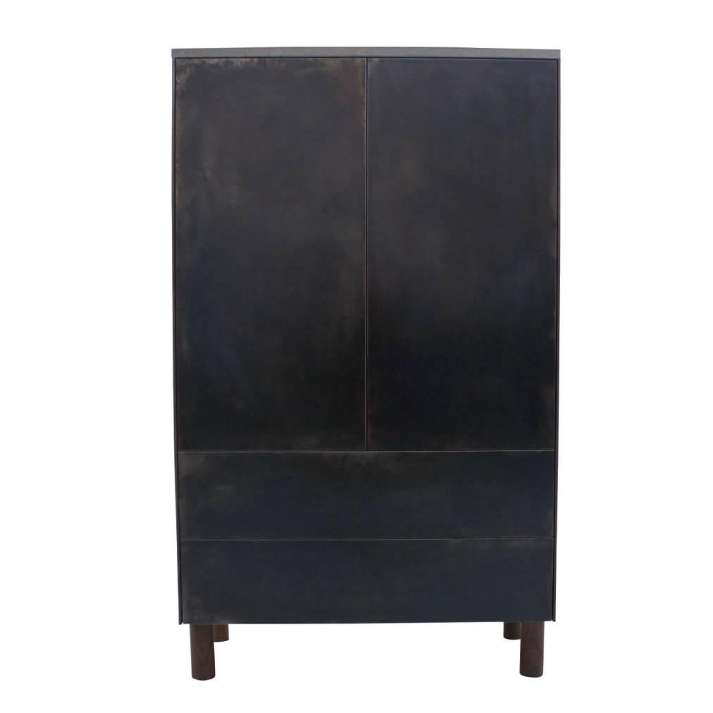 """Patinated Steel, Cast-Concrete and Walnut """"SCW Case"""" with Drawers and Shelving"""