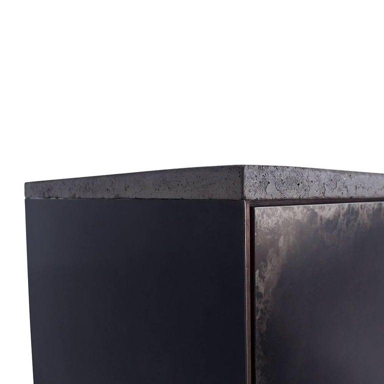 Minimalist Patinated Steel, Cast-Concrete and Walnut