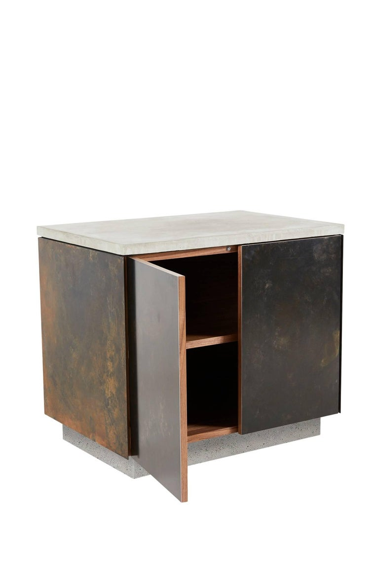 Minimalist Patinated Steel, Cast-Concrete and Walnut