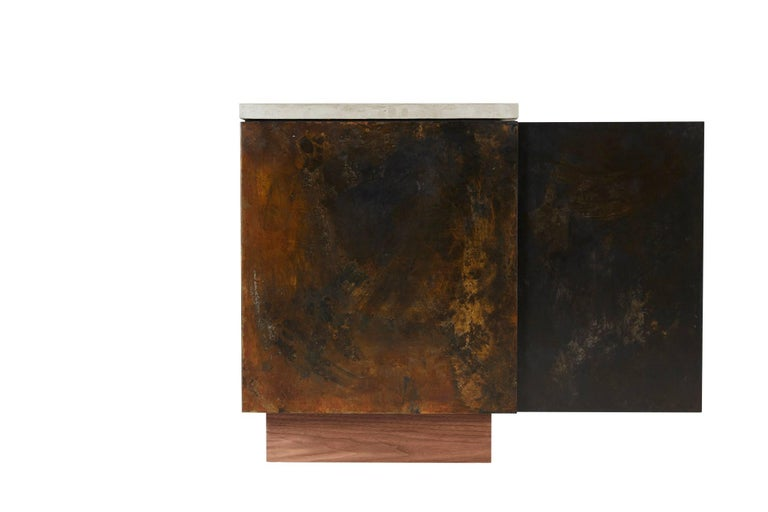 Contemporary Patinated Steel, Cast-Concrete and Walnut