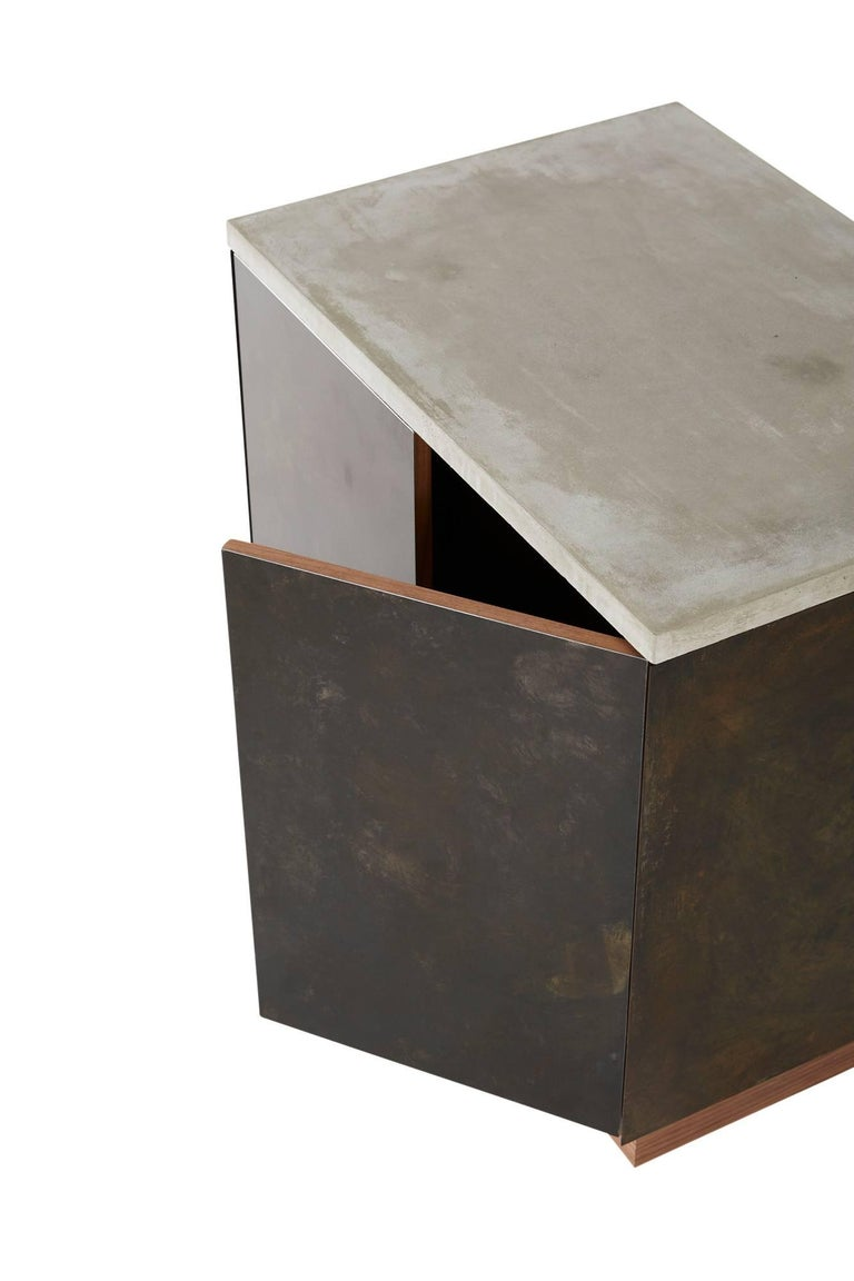 Patinated Steel, Cast-Concrete and Walnut