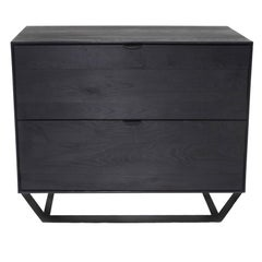 Solid Ashwood Charred Credenza with Leather Pulls, Hidden Drawer and Steel Base