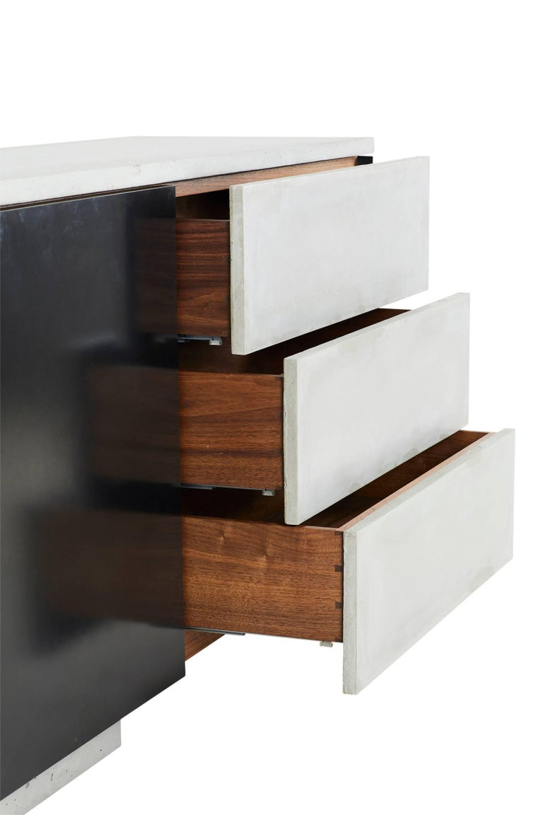 Contemporary Solid Walnut, Blackened Steel and Cast Concrete