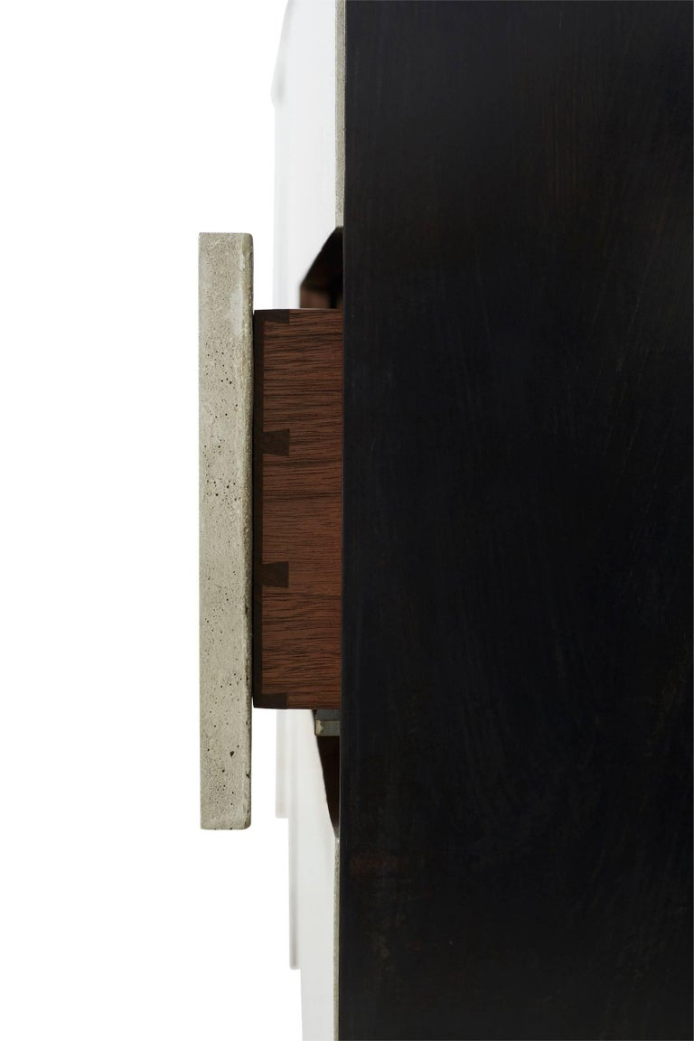 Solid Walnut, Blackened Steel and Cast Concrete