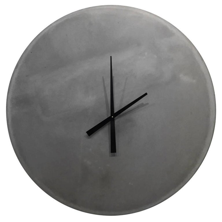 American Large Cast-Concrete Wall Clock For Sale