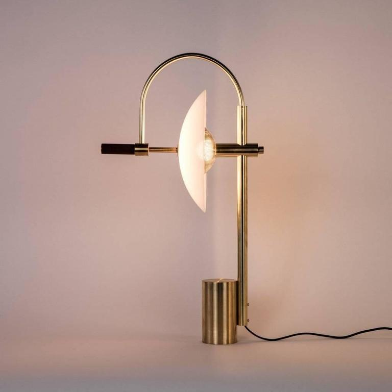 Aperture Table Lamp in Brass and Walnut For Sale at 1stdibs