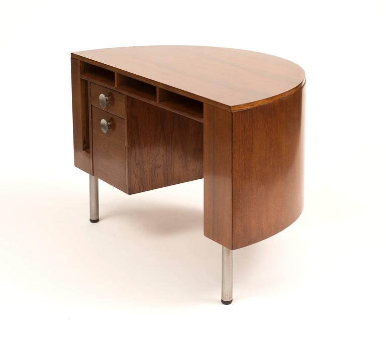Brushed Art Deco Demilune Desk by Gilbert Rohde in Walnut, 1942 For Sale