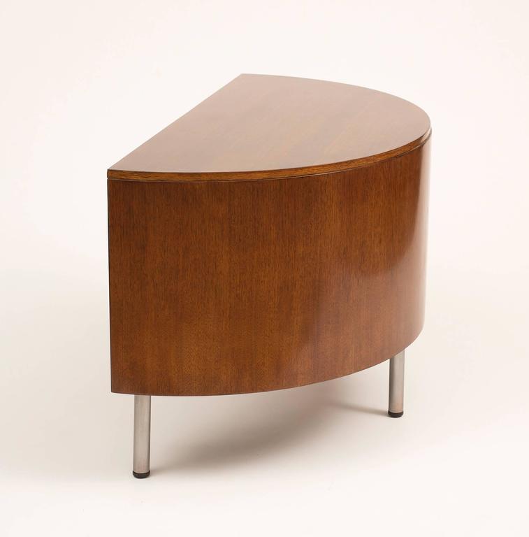 American Art Deco Demilune Desk by Gilbert Rohde in Walnut, 1942 For Sale