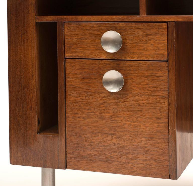Art Deco Demilune Desk by Gilbert Rohde in Walnut, 1942 For Sale 1