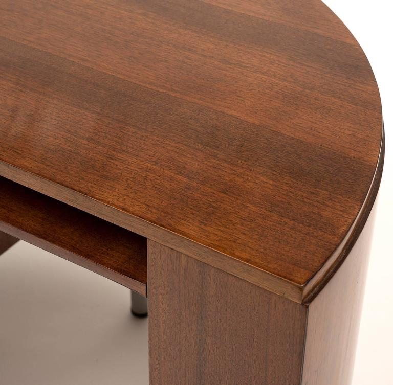 Mid-20th Century Art Deco Demilune Desk by Gilbert Rohde in Walnut, 1942 For Sale