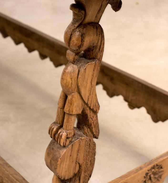 Early 18th Century Spanish Colonial Mexican Stretcher Base Table, Early 1700s For Sale