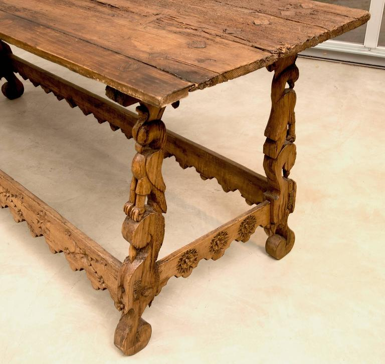 Spanish Colonial Mexican Stretcher Base Table, Early 1700s In Good Condition For Sale In Santa Fe, NM