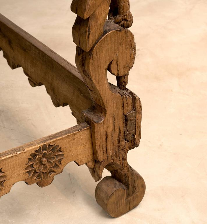 Pine Spanish Colonial Mexican Stretcher Base Table, Early 1700s For Sale