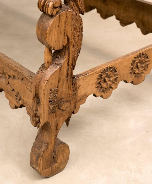 Spanish Colonial Mexican Stretcher Base Table, Early 1700s For Sale 2