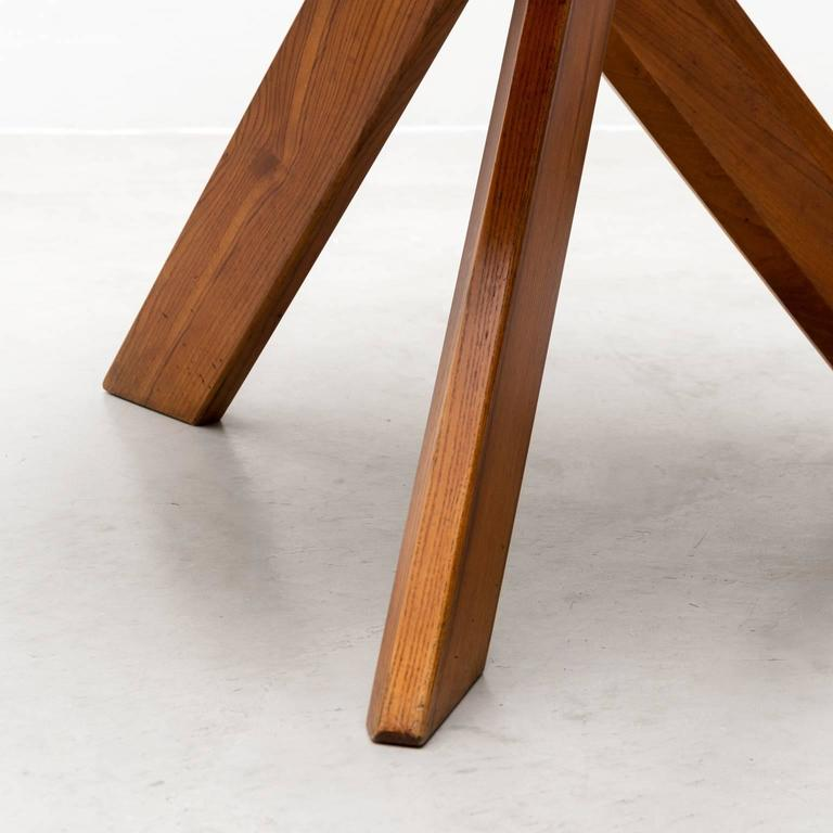 French Pierre Chapo Model T21 Dining Table in Solid Elm, France, 1960s For Sale