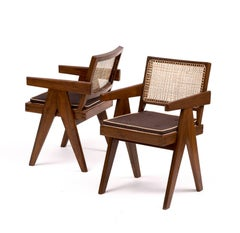 Set of Six Armchairs by Pierre Jeanneret in Teak and Cane, Chandigarh, 1950s
