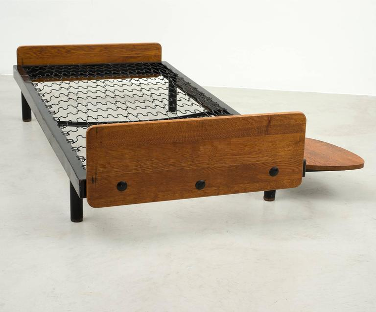 Rare S.C.A.L Daybed by Jean Prouve with Swivel Shelf, Charlotte Perriand, 1950s 7