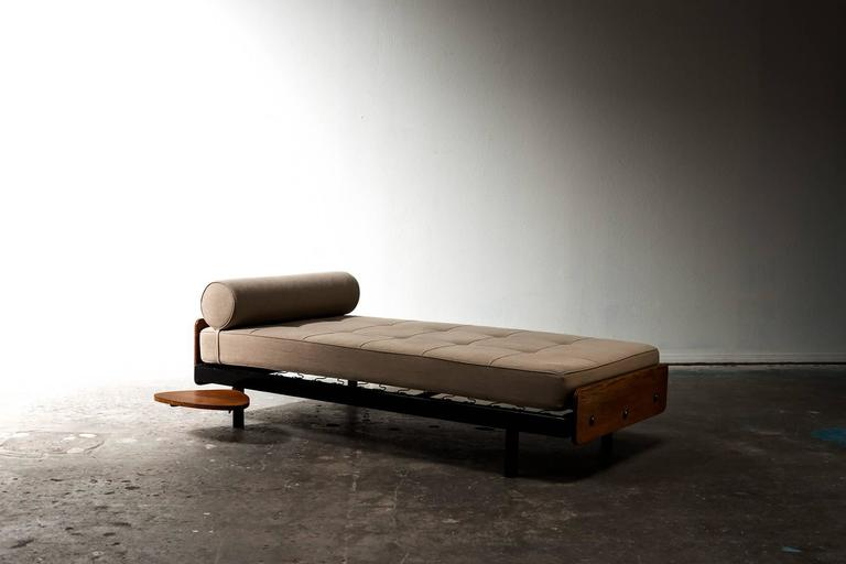 Rare S.C.A.L Daybed by Jean Prouve with Swivel Shelf, Charlotte Perriand, 1950s 2