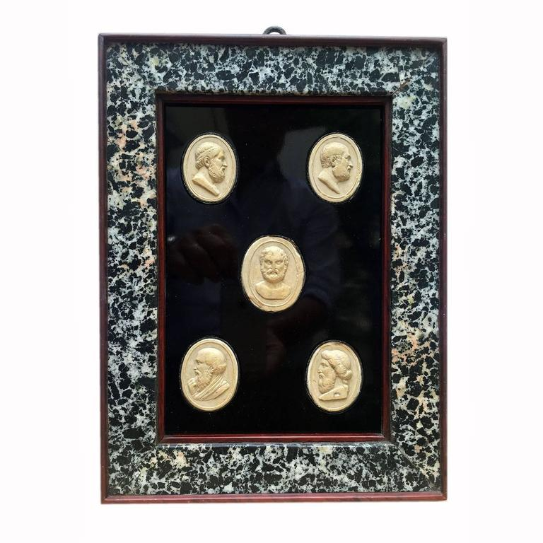 Italian Neoclassical Cameos Set of Five Grand Tour Plaster Cast Intaglios Framed
