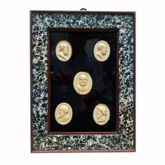 19th Century Italian Neoclassical Cameos Set of Five Grand Tour Intaglios
